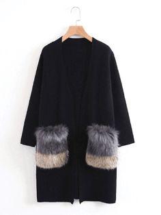 Shop Faux Fur Embellished Pocket Longline Cardigan online. SheIn offers Faux Fur Embellished Pocket Longline Cardigan & more to fit your fashionable needs.