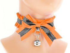 Orange black silver Kitten collar kitten play by FashionForWomen