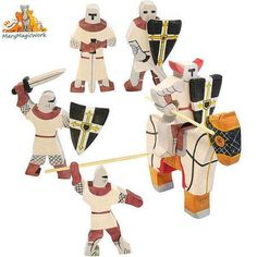 Set warriors Crusaders - Wooden soldiers, Wooden toys, Waldorf toys, Tactile wooden toys, Handmade wooden toys for kids, Montessori toys