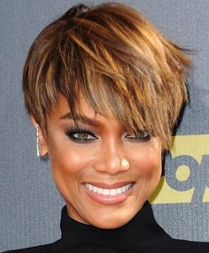 "Short Hair of Tyra Banks [ ""Tyra Banks Hairstyle - Short Straight Casual - Medium Brunette---like the colors"", ""Tyra Banks' short asymmetric haircut has a jagged cut all over with a tapered back and longer layers on the front and sides. The overall haircut is full of texture and could be styled in many ways"", ""Try on Virtual Hairstyles Free! Upload your photo and try on thousands of virtual hairstyles with over fifty hair colors."", ""Tyra Banks is an American supermodel, actress and te..."