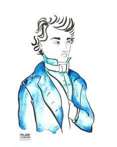 Watercolor and ink illustration of a dandy Wasserfarbe und Tusche - Illustration eines jungen Mannes Ink Illustrations, Portrait Illustration, Book Illustration, Watercolor Illustration, Watercolor Fashion, Watercolor And Ink, Napoleon, Sketches Of People, Dandy