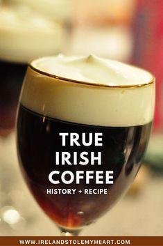 The Story Behind Irish Coffee (Plus a real Irish Coffee Recipe!) - Ireland Stole My Heart - Ever wondered about the history behind Irish Coffee? Here's the story, and a real Irish coffee re - Irish Drinks, Ireland Food, Whiskey Cocktails, Bourbon Drinks, Warm Cocktails, Great Coffee, Coffee Time, Coffee Plus, Coffee Coffee