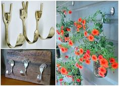 Fork Crafts, Diy Crafts, Spoon Art, Garden Inspiration, Metal Art, Garden Art, Outdoor Gardens, Cool Designs, Projects To Try
