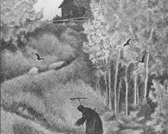 In Scandinavian folklore, Pesta is a traveling old woman and the personification of the Plague. If she comes to your house with a rake, some of the family may live. But if she comes with a broom, you're all doomed (Illustrations by Theodor Kittelsen) Most Popular Artists, Great Artists, Theodore Kittelsen, Black Death, Art Database, Nature Paintings, Folklore, Norse Mythology, Dark Art