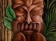 Coloured pencil tiki drawing Follow Me On Instagram, Colored Pencils, Drawings, Creative, Handmade, Painting, Art, Colouring Pencils, Art Background