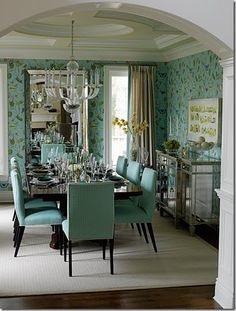 Turquoise Dining Room by Sarah Richardson Design House Of Turquoise, Turquoise Dining Room, Green Dining Room, Dining Room Design, Dining Area, Turquoise Walls, Green Rooms, Blue Rooms, Turquoise Color