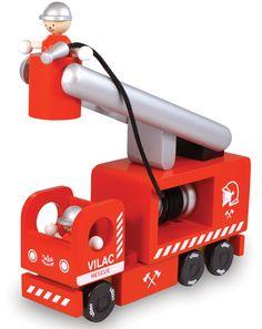 Feuerwehr aus Holz 3-teilig in rot
