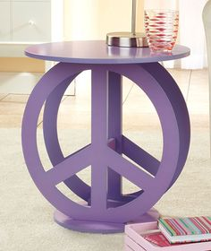 Purple Peace Sign End Table Night Stand Bedroom Hippie Groovy Teen Retro Decor | eBay