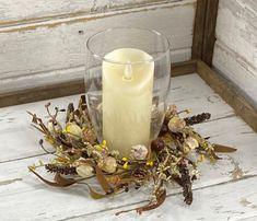 Fall Candles, Pillar Candles, Seasonal Decor, Fall Decor, Small Wreath, Crooked Tree, Candle Rings, Autumn Wreaths, Acorn