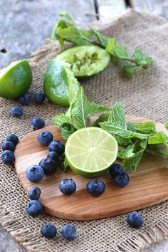 Blueberries, lime and mint. Everything you need for the perfect blueberry mojito!