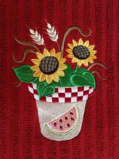 Embroidered Kitchen Towel Sunflower Kitchen By LuvHooURDesigns