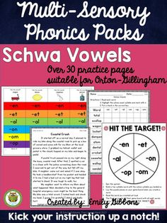 Schwa sounds can be challenging for students, but this phonics pack has everything you need to use a multisensory approach to teach SCHWA for reading and spelling. It is suitable for Orton-Gillingham instruction and other reading interventions.THIS SCHWA RESOURCE FOCUSES ON THE FOLLOWING SCHWA SOUNDS:-EN, -ET, -AL, -ON, -OM, -OPWhat is included?-Schwa word list for -en, -et, -al, -on, -om, -op-What is schwa?