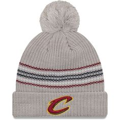 check out 32c40 6af04 Women s Cleveland Cavaliers New Era Gray Snowy Stripe Cuffed Knit Hat with  Pom, Your Price