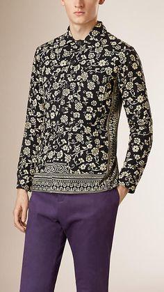 Charcoal Printed Cotton Jacket - Image 1