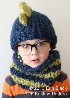 Ravelry: Chunky Dinosaur Hat and Cowl pattern by Erin Black