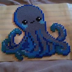 Octopus perler beads by Perler Bead Designs, Hama Beads Design, Diy Perler Beads, Pearler Bead Patterns, Perler Bead Art, Perler Patterns, Peler Beads, Iron Beads, Melting Beads