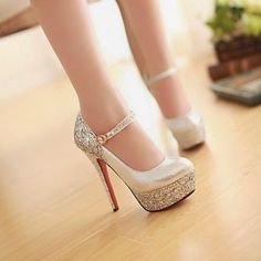 Shop Shining PU Upper Stiletto Heels Platform Fashion Prom/Evening Shoes on sale at Tidestore with trendy design and good price. Come and find more fashion Pumps here. Ankle Strap High Heels, Black High Heels, Lace Up Heels, Platform High Heels, Silver Wedding Shoes, Wedding Pumps, Stilettos, Stiletto Heels, Pump Shoes