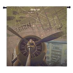 Propellers Wall Tapestry - 52W x 52H in. - 6701-WH