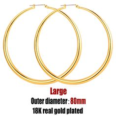 6212d8a72 Big Basketball Wives Earrings Trendy Gold Plated Fashion Jewelry Round Large  3 Size Hoop Earrings Women