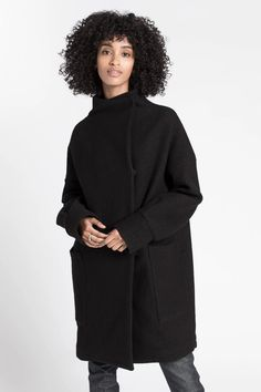 A perfect all around addition to any stylish wardrobe, you'll wish for cold weather with Marcellamoda's Emerson wool coat in your arsenal of winter gear. Winter Gear, Wool Fabric, High Collar, Emerson, Wool Coat, Clothes For Sale, Warm And Cozy, Cold Weather, High Neck Dress