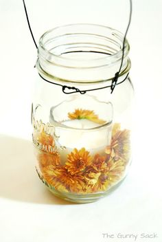 {Autumn Decor} Mason Jar Mum Candles   The Gunny Sack