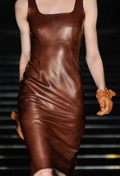 Wow! Leather dress.