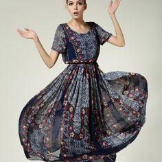 Retro Floral Print Elastic Waist Chiffon Short Sleeve Maxi Dress