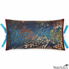 Printed Velvet Pillow Coral 12x22