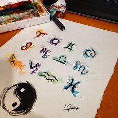 ♈️♉️♊️♋️♌️♍️♎️♏️♐️♑️♒️♓️ Qual eh o seu zodíaco? • #tattoo #tatuagem #aquarela #watercolor #zodíaco #zodiac #lcjunior #signs #sign #brush #signo #abstract