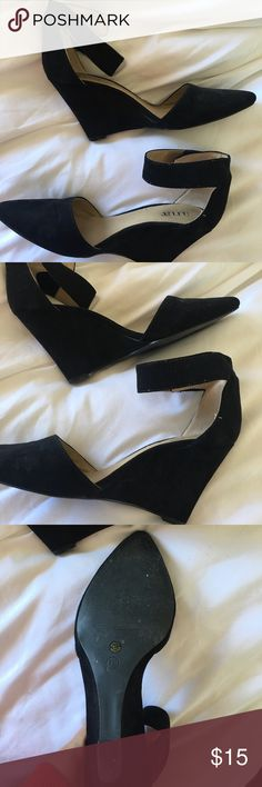 Ana Black Wedges Ana Black Wedges, size 8, fits true to size, lightly worn, Velcro ankle strap Shoes Wedges
