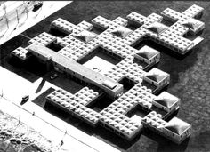 Built by Aldo van Eyck in Amsterdam, The Netherlands with date Images by CCA Mellon Lectures. Dutch Architect Aldo van Eyck built the Amsterdam Orphanage in His design focused on a balance of forces to cre. Le Corbusier, Concept Architecture, Architecture Design, Aldo Van Eyck, Classic Building, Modern Buildings, Amazing Buildings, Eindhoven, Helsinki