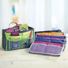 The popular Purse to Go made even better with double the pockets! Perfect for gals with lots of smaller items to organize, these great, lightweight organizers have pockets both inside and outside for