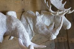 A handcrafted paper mache sculpture of a Moose, Elephant, & Rhino head to mount on your wall. I sculpt using clean newsprint and duct tape to