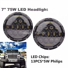 105.00$  Buy now - http://aliec6.worldwells.pw/go.php?t=32658241090 - Black 75 W Headlamp 7'' INCH Projector LED Headlight with DRL for Wrangler JK Cruiser Trucks Offroad Lights 105.00$
