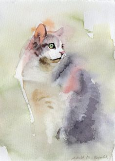 Custom watercolor pet portrait by Michelle Arnold. An affordable portrait of your beloved pet.    Watercolor and ink on Canson 140lb