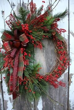Winter wreath with berries