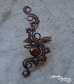 Autumn wire wrapped ear cuff