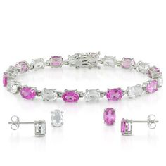 Sterling Silver 25 CT TGW Oval Created Pink Sapphire and White Topaz Stud Earrings Bracelet Amour. $88.99. Save 51% Off!