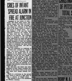 Fire in the Junction.  Doyle, O'Rourke Pittston Gazette 2 Dec 1930