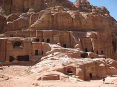 Cave tombs were carved into rock by the ancient Nabataeans in Petra, Jordan. Petra is a UNESCO World Heritage site. Holy Land, Travel Light, Picture Show, Geology, Middle East, Mount Rushmore, Jordan Petra, Around The Worlds, Things To Come