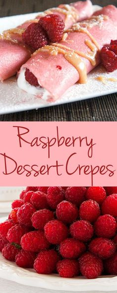 These perfect pink Raspberry Dessert Crepes are the perfect pop of color at the end of a V-Day meal!