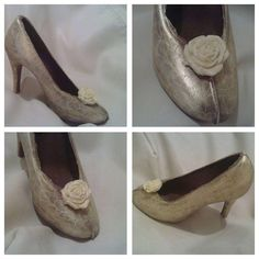 Edible Patterned gold chocolate shoe. Perfect as bridemaids' gift