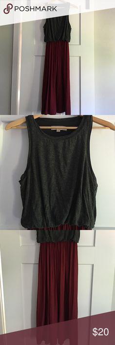 Loft Dress Loft tank Dress; grey/maroon; size small LOFT Dresses
