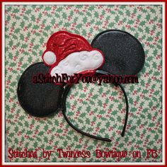 Headband SANTA Hat ITH Mr Miss Mouse Ears by astitchforyou on Etsy