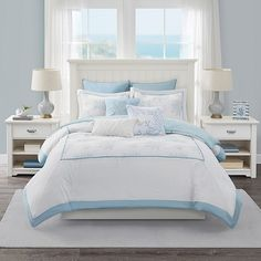 Add an airy, coastal look to your bedroom oasis with the Harbor House Palmetto Bay Comforter Set. Crafted from cotton, this set features pale blue coral embroidery and includes matching pillow shams for a complete look. Pale Blue Bedrooms, Coastal Master Bedroom, Blue Bedroom Walls, Blue Bedroom Decor, Blue Rooms, Room Ideas Bedroom, Bedroom Themes, Periwinkle Bedroom, Light Bedroom