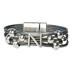 Initial N Leather Bracelet. Grey leather with silver initial and beads. #wrapyourstyle #initialjewelry #initialbracelets #initialleatherbracelets