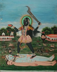 """alchemicaldreams:    Divine Mother Kali  Says the Mahanirvana Tantra: """"Just as all colors disappear in black, so all names and forms disappear in her"""".  Kali is so called because She devours Kala (Time) and then resumes Her own dark formlessnes.  The reclined Shiva lying prostrate under her feet suggests that without the power of Kali (Shakti), Shiva is inert.  Kali Maheshvari Paravati Shankara Sharanam Maa!: http://wwwyogafitnessblog.blogspot.com/"""