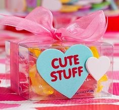 Sweet Valentines Gift: Candy is extra-thrilling when it's on display in a transparent box with a pretty ribbon!