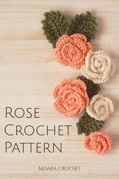 Free Crochet Rose Pattern, Crochet Applique Patterns Free, Crochet Appliques, Crochet Flower Patterns, Crochet Patterns Amigurumi, Crochet Motif, Crochet Flowers, Free Pattern, Sewing Patterns