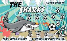 Sharks-40679 digitally printed vinyl soccer sports team banner. Made in the USA and shipped fast by BannersUSA. www.bannersusa.com